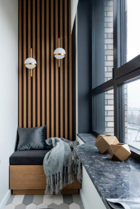 Стена, украшенная деревянными рейками. | Фото: Houzz.