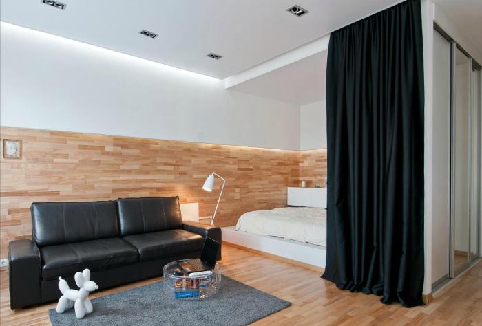 Контрастный интерьер одной комнаты.