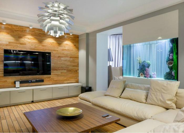 Современная гостиная с природными мотивами.