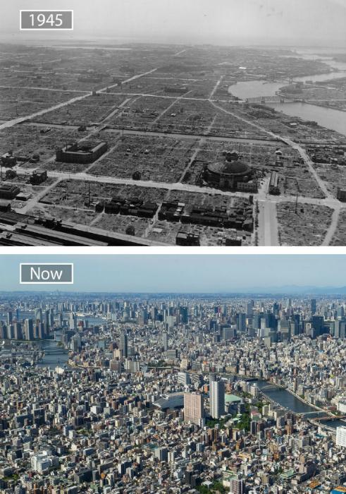 Токио в 1945-ом и сейчас.