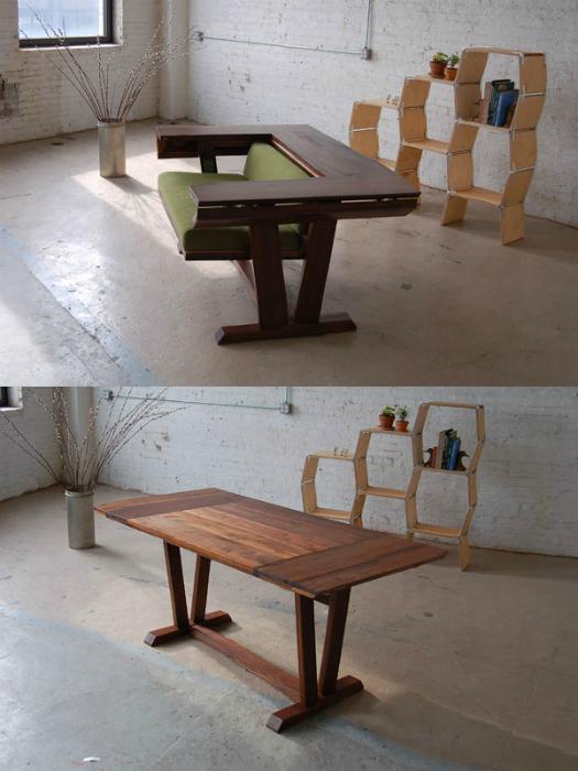 Стильное кресло, которое трансформируется в деревянный обеденный стол.