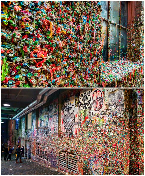 Стена жевательной резинки в Сиэтле.
