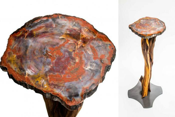 Столик из окаменелой древесины.