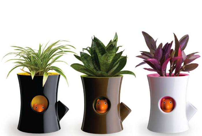 Горшки для комнатных растений с забавными индикаторами, которые будут напоминать о поливе.