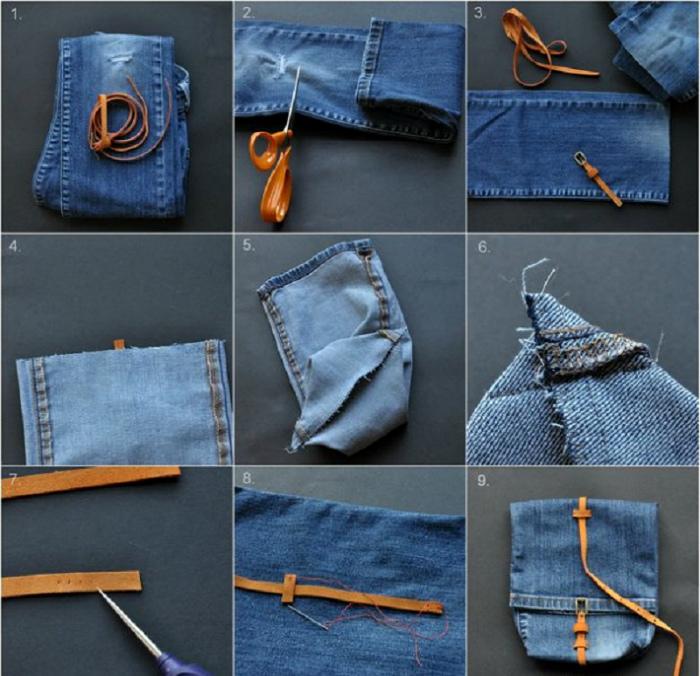 Стильная сумочка из джинсов.