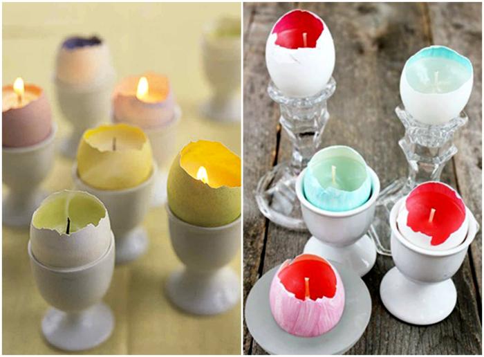 Свечи в яичной скорлупе.