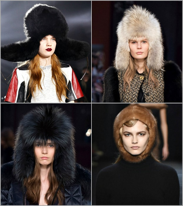 Модные шапки из меха.