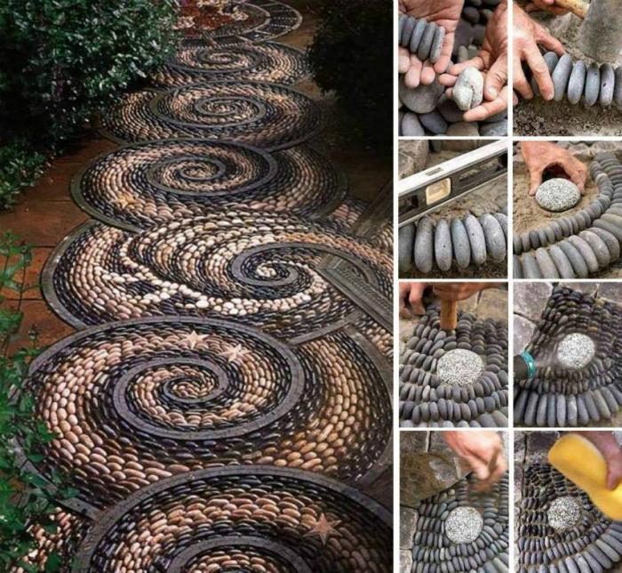 Удивительная дорожка из камней, выложенных в замысловатую спиральную мозаику.