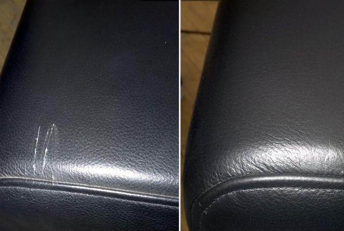 Царапины на кожаном диване.   Фото: Агенты Чистоты.