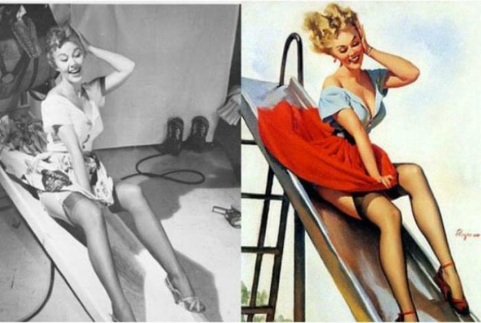 Женщина в реальности и на картине Джила Элгрена, 1950.
