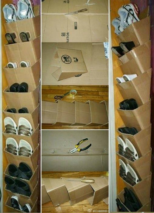 Обувной стеллаж из картонных коробок. | Фото: pinterest.com