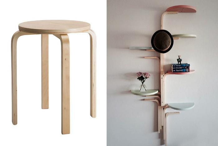Замысловатый стеллаж из раскладных стульев.