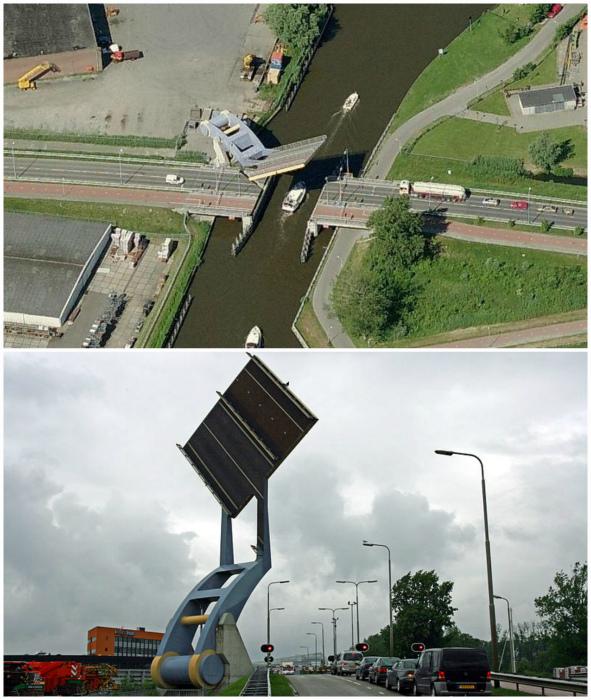Подъемный мост, похожий на катапульту.