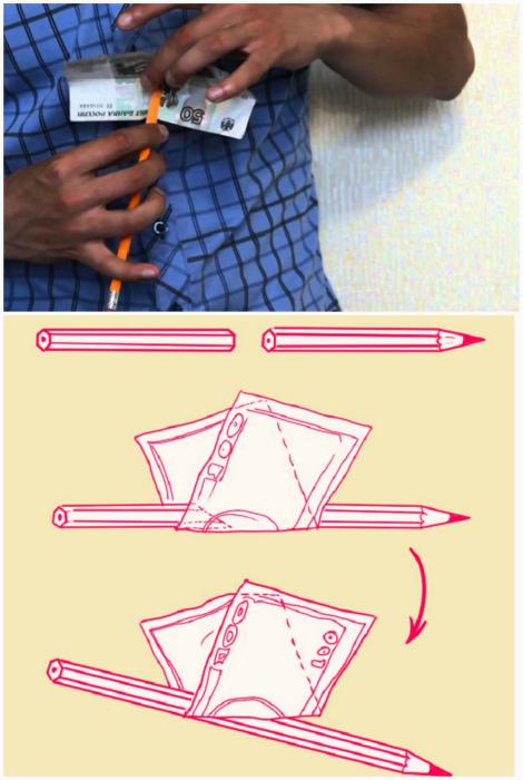 Фокус с карандашом и рваной купюрой.