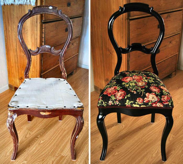 Старый обшарпанный стул превратился в настоящий дизайнерский арт-объект, благодаря покраске и новой оббивке.