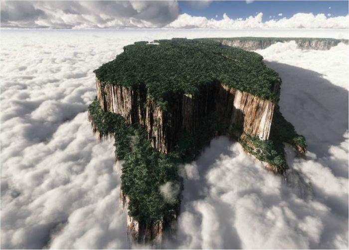Гора, которая имеет плоскую вершину, на которой можно увидеть маленькие водопады, естественные выложенные кварцем бассейны и место, где встречаются границы Венесуэлы, Бразилии и Гайаны.