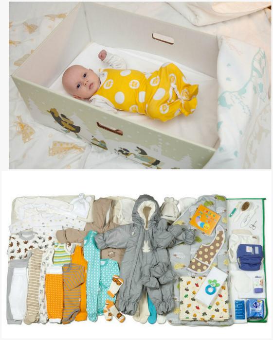 В Финляндии каждая женщина после родов получает коробку с самыми необходимыми вещами для малыша.