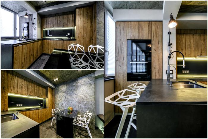 Современный дизайн открытой кухни.