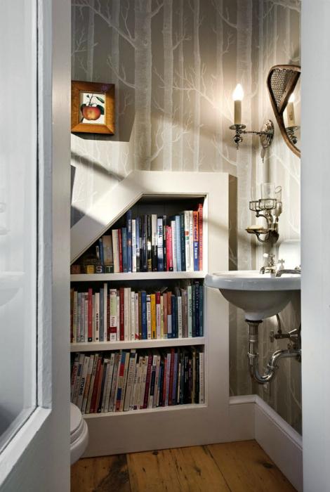 Строенные книжные полки в туалете.