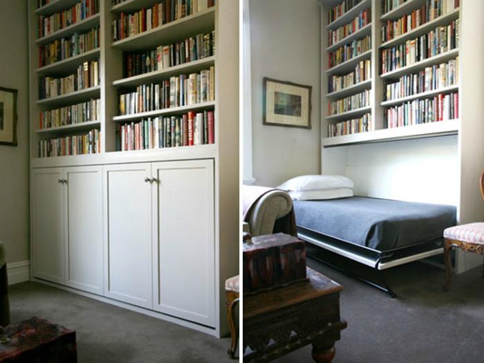 Книжный шкаф с откидной кроватью.