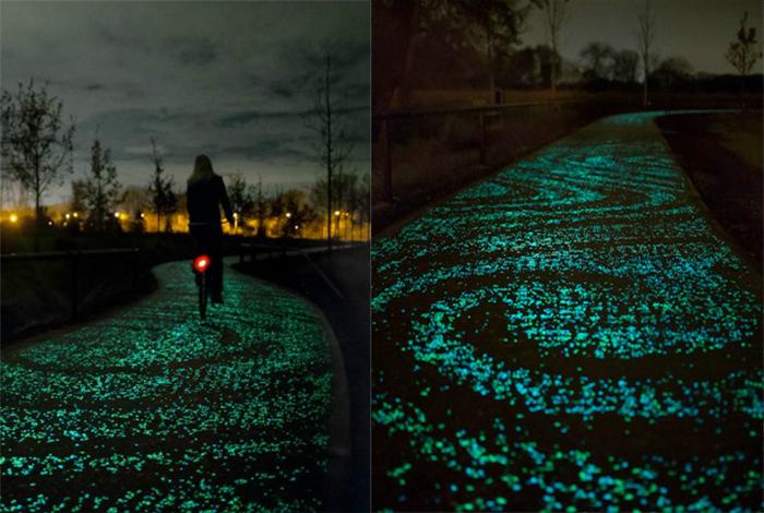 Велодорожка, которая усеяна тысячами фосфоресцирующих камушков, которые поглощают солнечную энергию днём и светятся ночью.