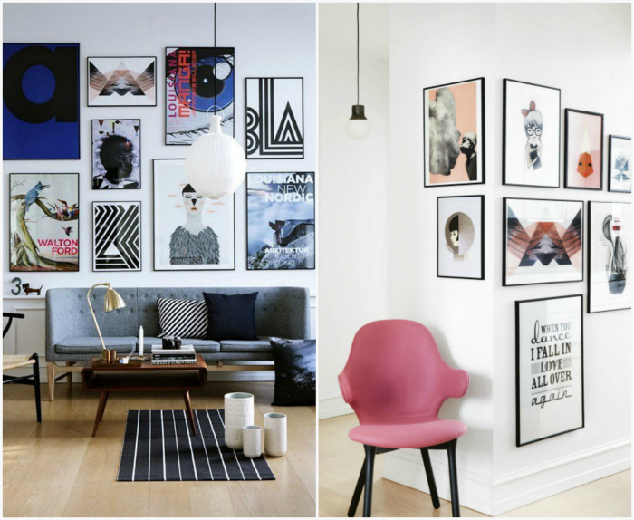Плакаты и фотографии в интерьере.