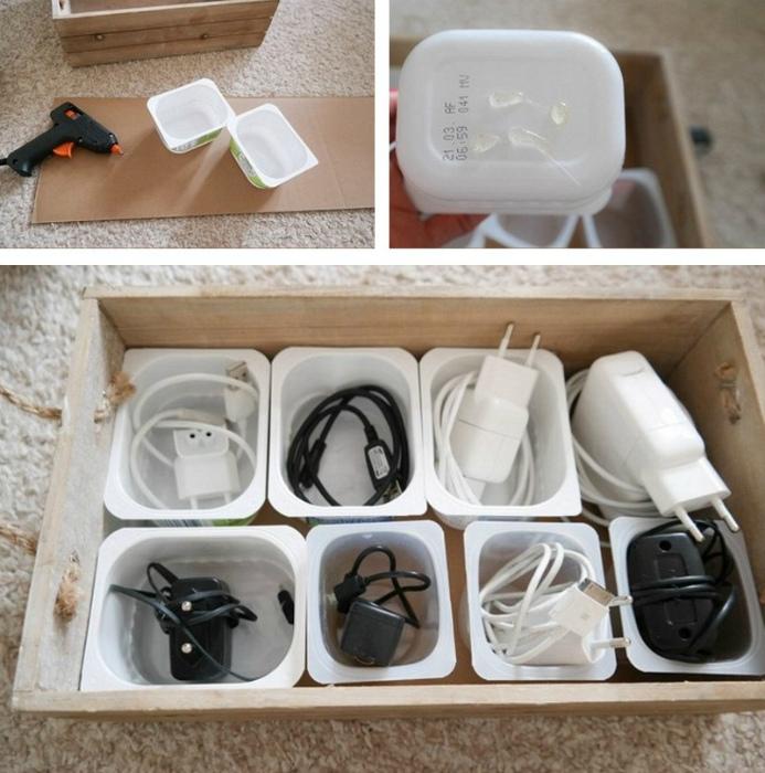 Хранение проводов в контейнерах. | Фото: Женские хитроспетения.