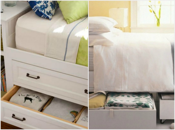 Хранение под кроватью. | Фото: Фотографии красивых интерьеров, Pinterest.ru.