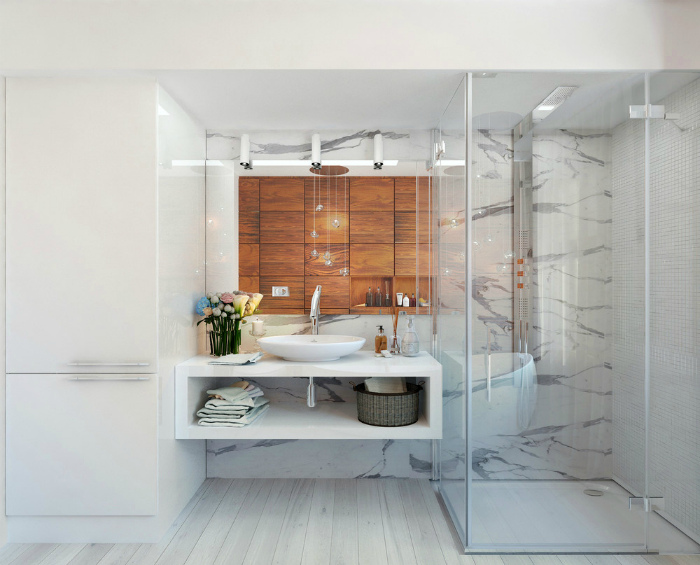 Элегантная ванная с акцентной стеной.