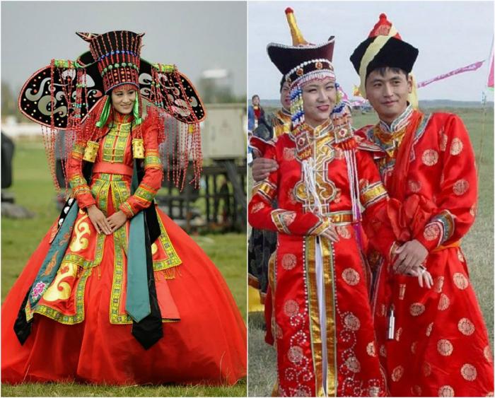Монгольские традиционные свадебные костюмы.