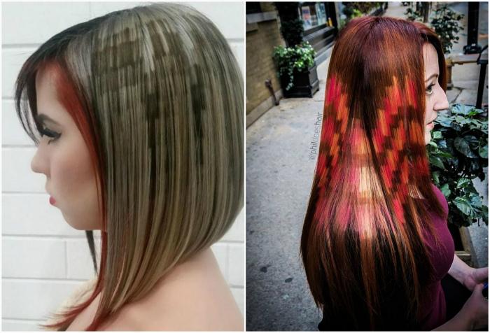 «Пиксельный» рисунок на волосах.