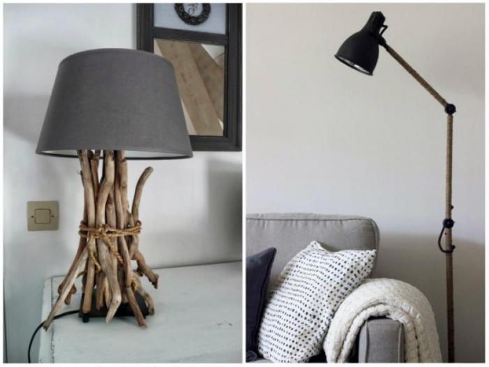 Декор светильников подручными материалами.