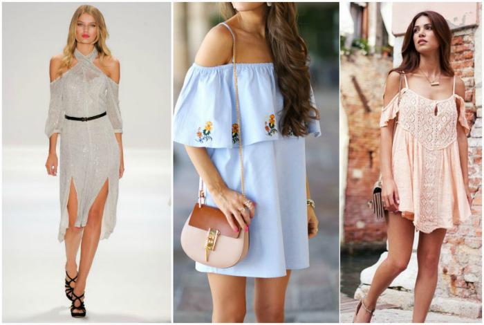 Платья и сарафаны с открытыми плечами.