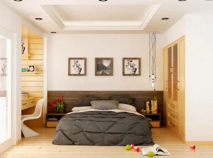 Светлая спальня в стиле модерн.