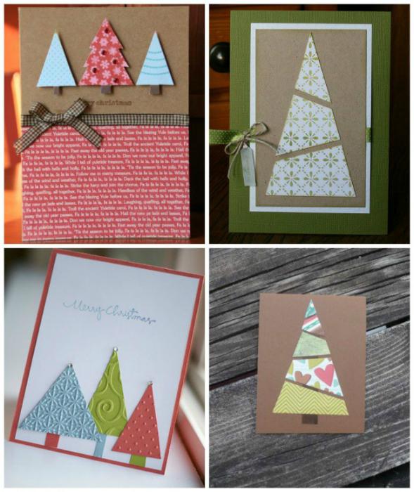 Очаровательные открытки с елочками, которые можно сделать из лоскутов обоев, ткани, старых журналов или цветной бумаги.