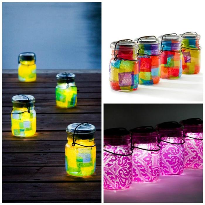 Цветастые фонарики из стеклянных банок.