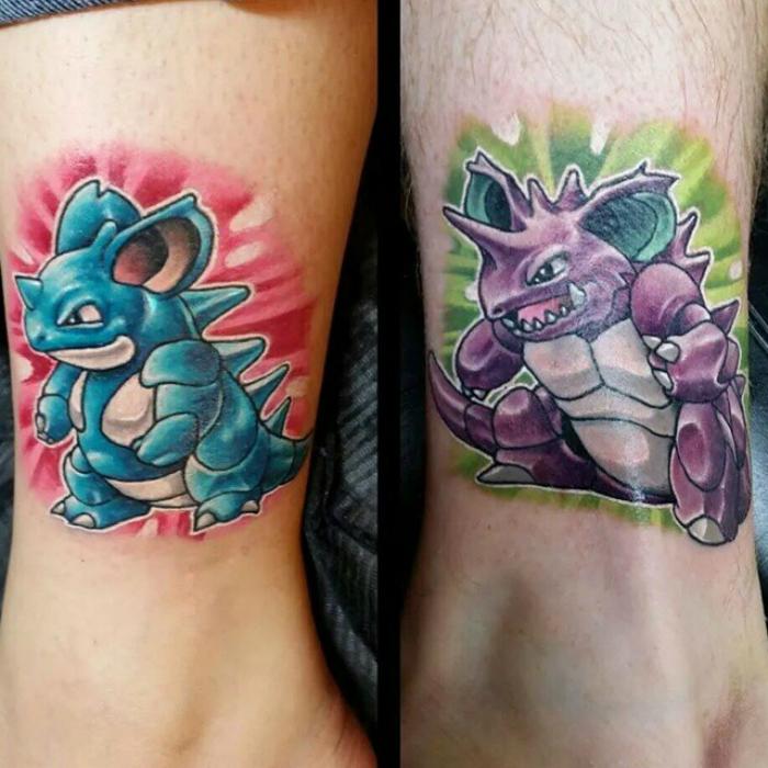 Doble tatuaje Nidokvina y Nidokinga.