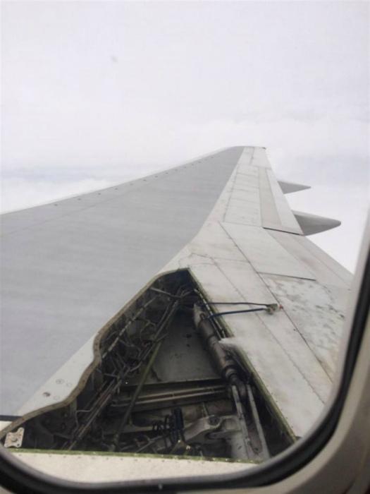 Нам на Novate.ru кажется, что лететь в самолете без куска крыла – не очень хорошая примета. | Фото: Lettera43.