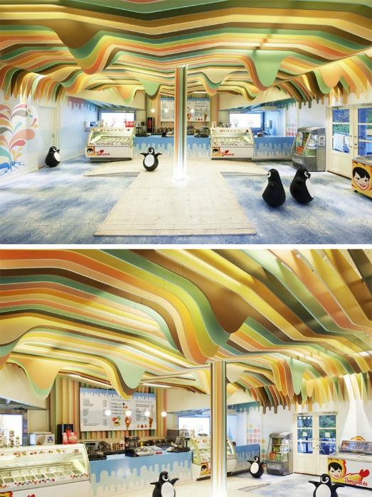 Фигурный радужный потолок.