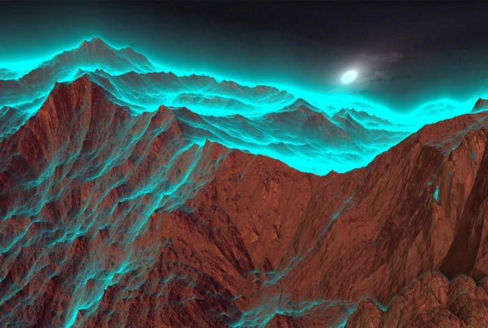 Горы, подсвеченные лунным светом.