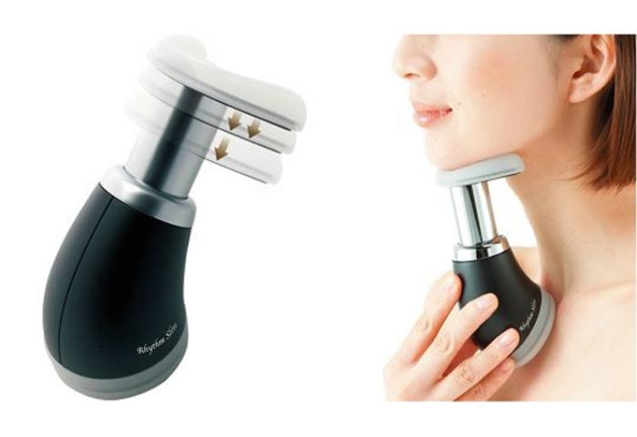 Устройство Rhythm Slim Chin Muscle Exercise, работающее по принципу насоса, для укрепления мышц шеи и носа.
