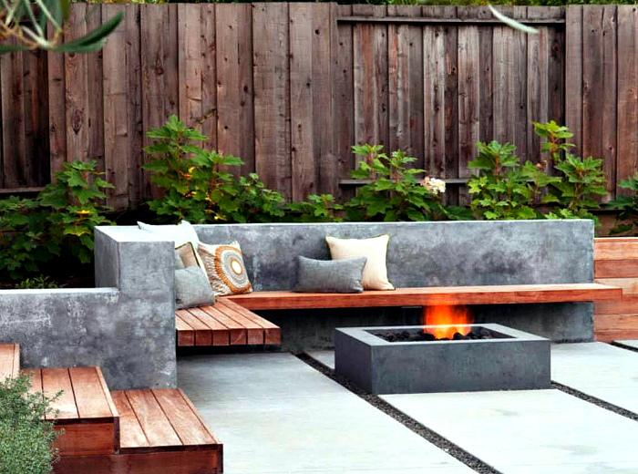 Лаконичное бетонное патио.