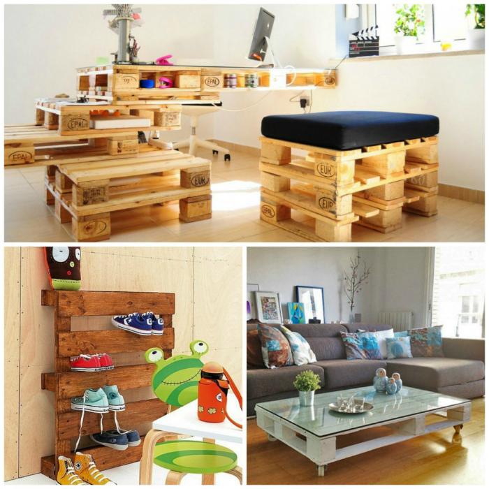 Из деревянных поддонов (паллет) можно сделать множество оригинальных предметов мебели.