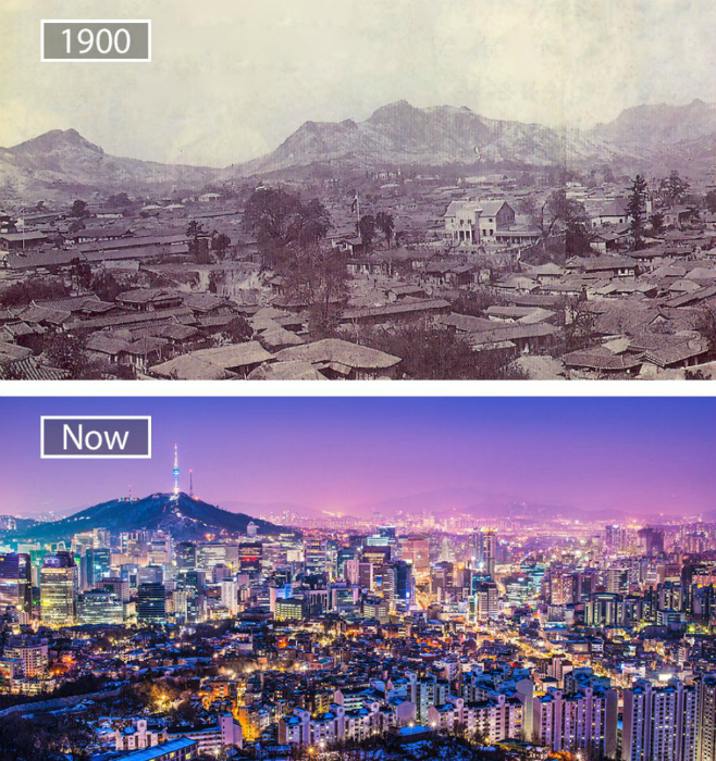Сеул в 1990-ом и сейчас.