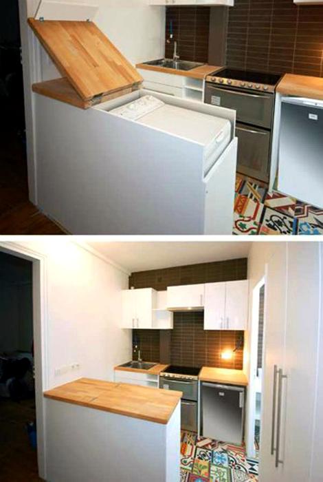 Стиральная машина, спрятанная в кухонный стол.
