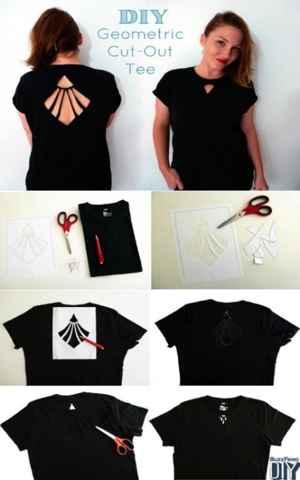 Обыкновенную футболку можно украсить необычным разрезом, сделанным под трафарет.