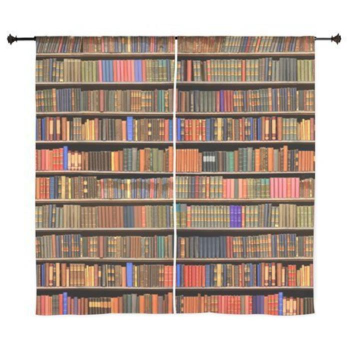 Креативные занавески, которые превратят спальню в библиотеку.