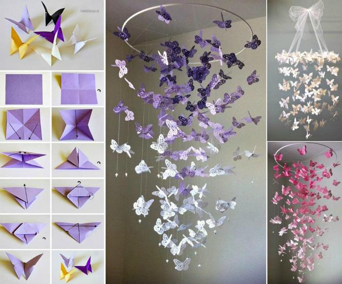 Изумительная подвеска с бабочками, сложенными из бумаги станет отличным украшением для любой комнаты.