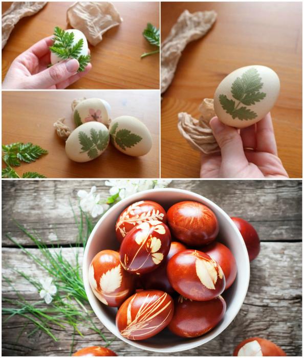 Декор яиц натуральными материалами.