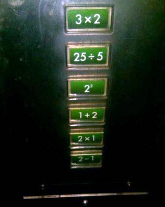 Оригинальные кнопки в лифте.